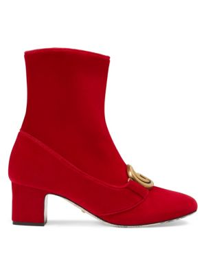 Velvet Mid-Heel Double G Ankle Boots in Red