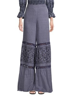 ALEXIS Lizbeth Wide-Leg Embroidered Crochet Pants in Blue