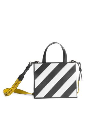 Small Striped Leather Box Bag by Off White