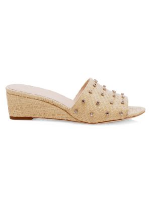 Tilly Crystal-Embellished Woven Raffia Wedge Sandals, Natural
