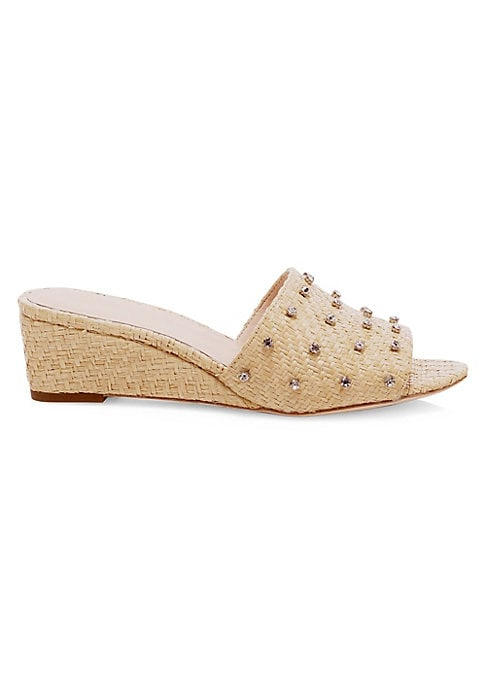 """Image of Raffia adds rustic accents to studded wedge sandals. Self-covered wedge heel, 1.57"""" (40mm).Raffia upper. Open toe. Slip-on style. Leather lining and sole. Imported."""