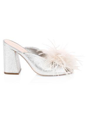 LOEFFLER RANDALL Laurel Ostritch Feather Leather Sandals in Silver/Light Grey