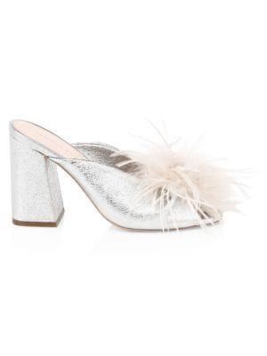 Laurel Ostritch Feather Leather Sandals in Silver/Light Grey