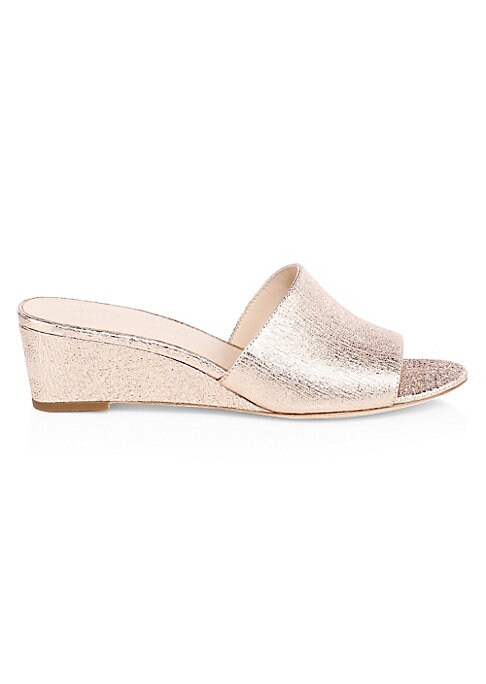 """Image of Metallic leather adds a sense of dazzle to sandals. Self-covered wedge heel, 1.57"""" (40mm).Leather upper. Open toe. Slip-on style. Leather lining and sole. Imported."""