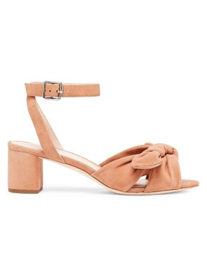 Jill Knotted Suede Ankle-Strap Sandals, Buff Pink