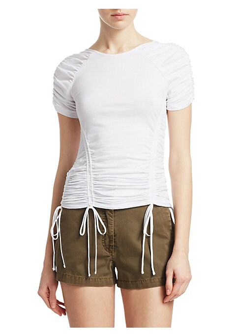 """Image of Allover ruching contours stretch cotton t-shirt. Bateau neckline. Ruched short sleeves. Pullover style. Drawstring bodice. Fitted. About 20"""" from shoulder to hem. Cotton. Dry clean. Made in USA. Model shown 5'10"""" (177cm) is wearing US size Small."""