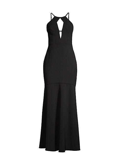 "Image of A sleek, cutout flounce gown finished with a daring V-back. Halterneck. Sleeveless. Concealed back zip. Adjustable spaghetti straps. Lined. Polyester/elastane. Machine wash. Imported. SIZE & FIT. Figure hugging A-line silhouette. About 61"" from shoulder t"