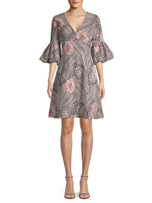 AIDAN MATTOX V-Neck Bell-Sleeve Mixed-Media A-Line Cocktail Dress in Blush