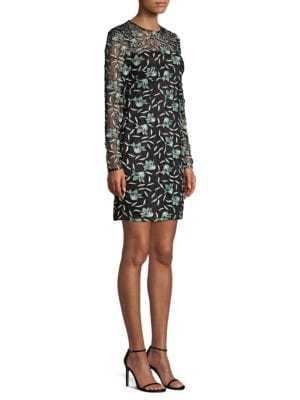 AIDAN MATTOX Long-Sleeve 3-D Floral Lace Fitted Mini Cocktail Dress in Mint