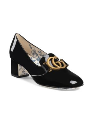 Patent Leather Mid-Heel Pump With Double G, Black Patent Leather
