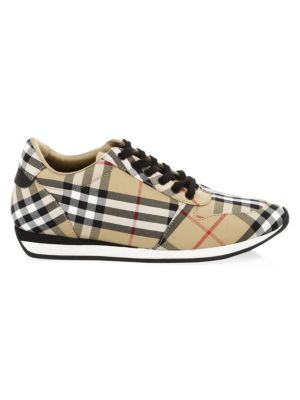 Leather-Trimmed Checked Canvas Sneakers in Beige