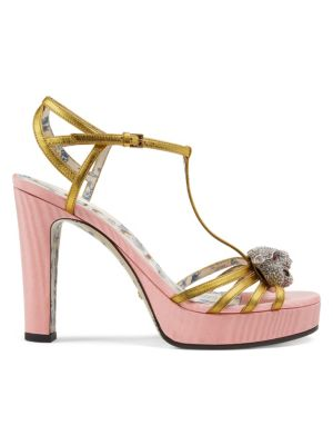 Elias Platform T-Strap Sandals With Tiger Head Ornament, Pink/ Gold