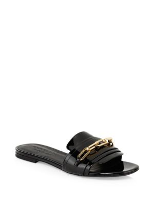 Chain Patent Leather Flat Sandals by Burberry