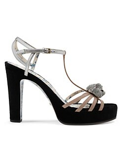 6e3f40a3b7d7 Gucci. Leather T-Strap Crystal Feline Head Sandals