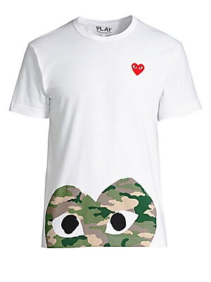 "Image of Camo print heart with eyes elevate basic tee Crewneck Short sleeves Pullover style About 27"" from shoulder to hem Cotton Machine wash Imported. Men Adv Contemp - Advanced Contemp Collect > Saks Fifth Avenue. Comme des Garcons Play. Color: White. Size: Lar"
