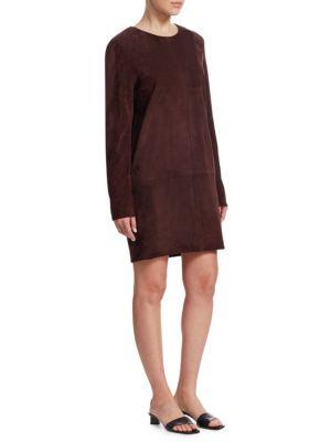 Rani Crewneck Long-Sleeve Short Suede Shift Dress in Mahogany