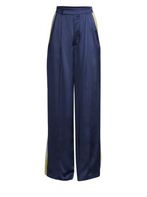 ALEXIS Nicoli Sports Stripe Silk Pants in Blue