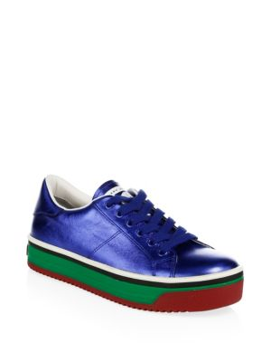 Empire Multicolored-Sole Leather Platform Sneakers in Blue