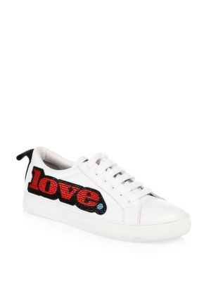 Women'S Empire Love Embellished Leather Lace Up Sneakers in White