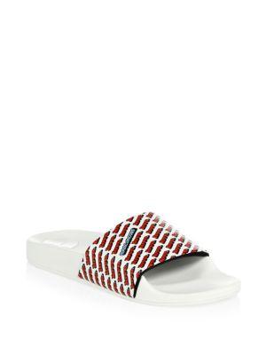 Women'S Love Aqua Leather Slide Sandals, White