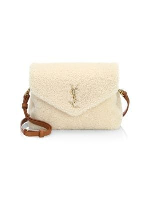 Small Loulou Genuine Shearling Crossbody Bag - Ivory in Naturale/ Deep Cuoio