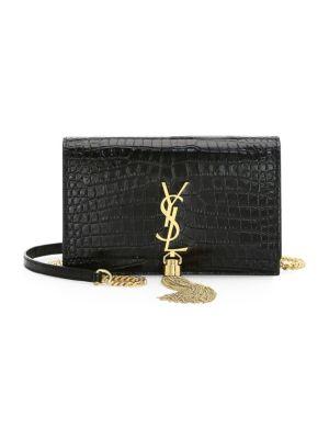 Kate Monogram Ysl Tassel Croco Wallet On Chain Bag - Golden Hardware in Black