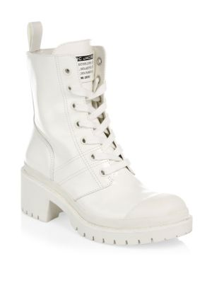 Bristol Lace-Up Chunky-Heel Leather Combat Boot, White