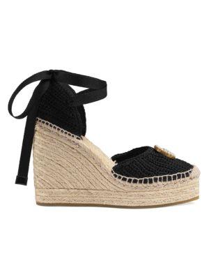 c9d1a8a3e59 GG Crochet Espadrille Wedge Sandals