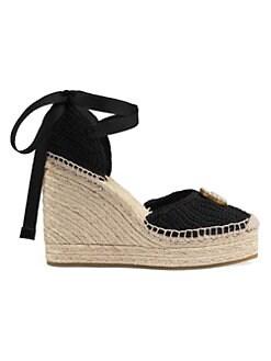 522304858a9 Gucci. GG Crochet Espadrille Wedge Sandals