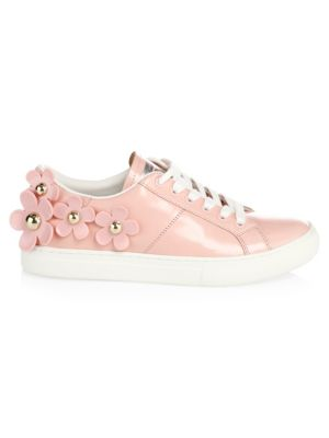 Daisy Stud-Flower Leather Low-Top Sneakers, Light Pink
