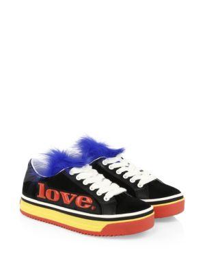 Empire Love Genuine Shearling & Calf Hair Trim Sneaker, Multi