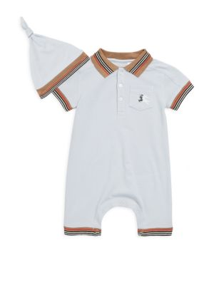Babys TwoPiece Cotton Polo Playsuit  Hat Set