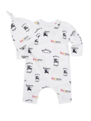 Baby Boys TwoPiece Cotton Playsuit  Hat Set