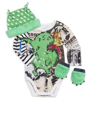Baby Boys FourPiece Green Monster Bodysuit Hat  Mitts Set