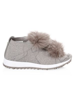Women'S Norway Fox Fur Pom-Pom Slip-On Sneakers, Grey