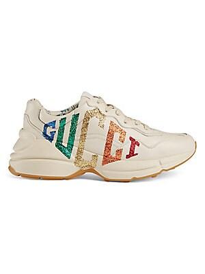 d403aa7e684e Gucci - Rhyton Glitter Gucci Leather Sneaker - saks.com