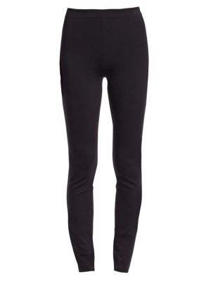 Helda Skinny Back-Hem Zip Stretch-Knit Pants, Black