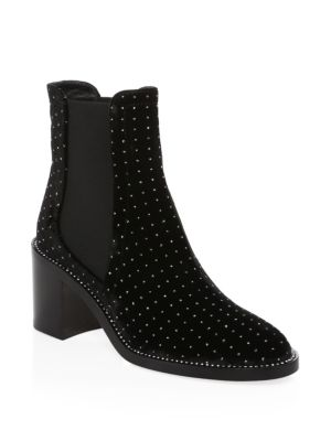 Merril 65 Black Glitter Spotted Boots With Crystal Welt, Black Silver