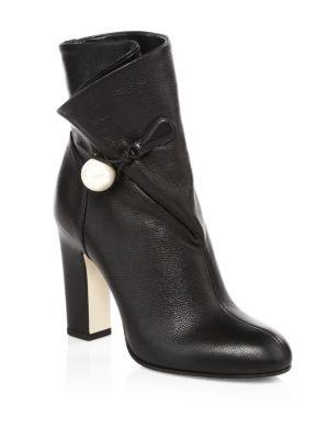 Women'S Bethanie 85 Leather High-Heel Booties in Black