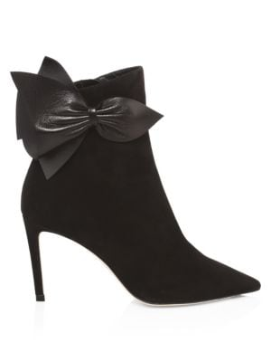 Kassidy 85 Black Suede Ankle Booties With Black Nappa Leather Bow