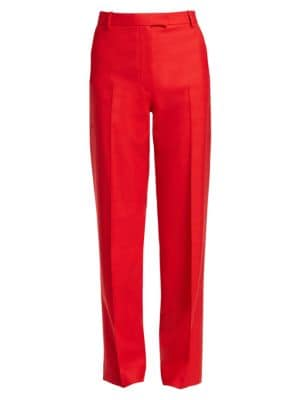 Lada Grain De Poudre Wool Straight-Leg Pants in Red