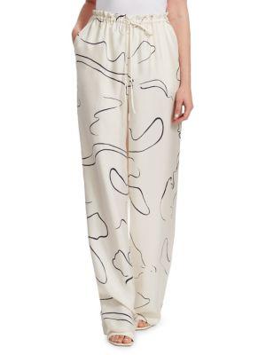 Jr Abstract-Print Silk Drawstring Pants, Navy Ivory