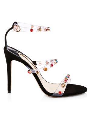 Rosalind Crystal-Embellished Pvc And Suede Sandals, Black
