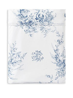 "Image of Cotton flat sheet in elegant floral print Queen: 95""W x 122""L Long staples combed cotton Machine wash Imported. Gifts - Bed And Bath > Saks Fifth Avenue. Anne De Solène. Size: Full/Queen."