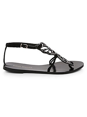 Image of Designed to complete a full butterfly, these glitter leather sandals are a chic statement shoe Leather/textile upper Buckled ankle clasp Open toe Leather lining and sole Made in Italy. Women's Shoes - Contemporary Womens Shoe. Sophia Webster. Color: Black
