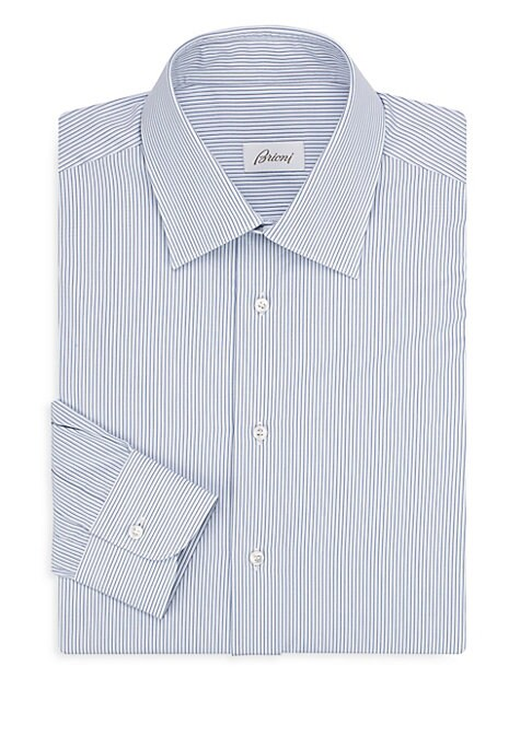 "Image of Cotton dress shirt finished with contrasting stripes. Point collar. Long sleeves. Buttoned barrel cuffs. Button front. Regular-fit. About 30"" from shoulder to hem. Cotton. Machine wash. Made in Italy."