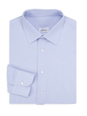 Brioni Regular Fit Windowpane Cotton Dress Shirt