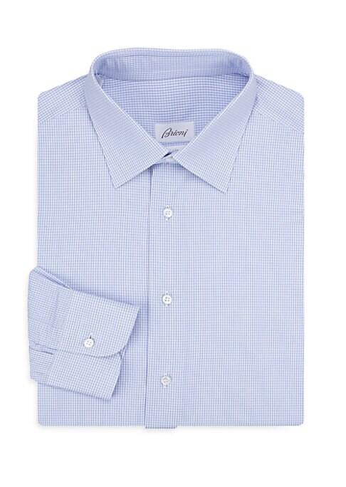 "Image of Dress shirt with allover windowpane pattern. Spread collar. Long sleeves. Buttoned barrel cuffs. Button front. Regular Fit. Length from shoulder to hem, about 30"".Cotton. Machine wash. Made in Italy."