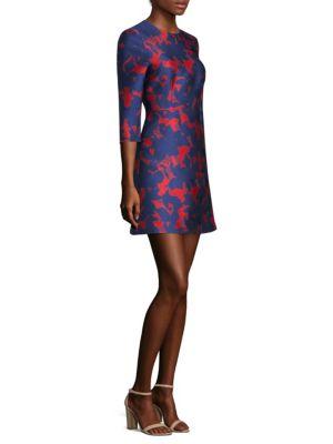 3/4-Sleeve Floral-Jacquard Mini Cocktail Dress, Geranium