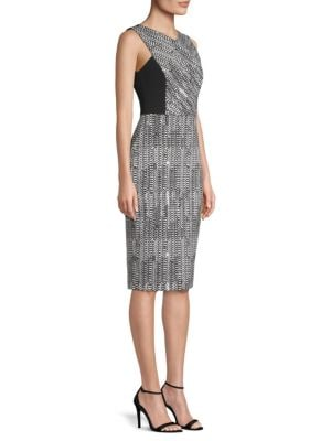 Sleeveless Herringbone-Jacquard Sheath Cocktail Dress in Grey